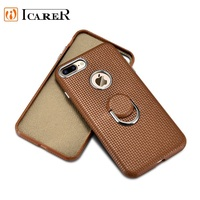 ICARER Woven Pattern Back Cover For iPhone7 8 Genuine Leather Phone Case For Apple iPhone7Plus 8Plus 5.5 With Finger Ring Stand