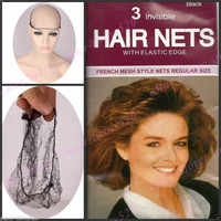 French Mesh Style Hair Nets Invisible Elastic Edge Regular Mesh snood Black 3pcs one pack