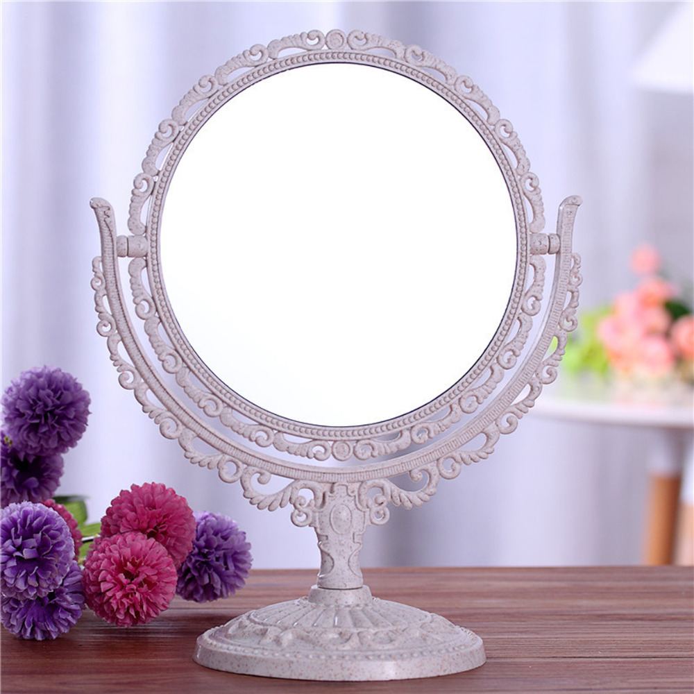 Double Sided Make Up Cosmetic Round Mirror Shaving Bath Table On Stand