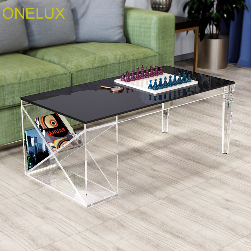ONELUX 2018 New Acrylic Coffee Table With Side Magzine Rack,Lucite Living room Tables Tapered Legs-100W50D40H CM one lux waterfall acrylic lucite lounge sofa table plexiglass waiting room magazine side coffee corner tables