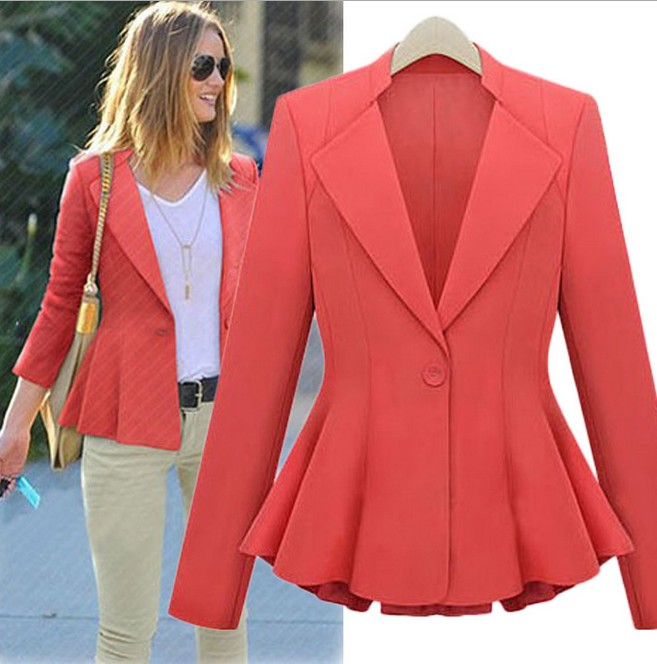 Mujeres trajes de chaqueta de color rojo, mujer blazers