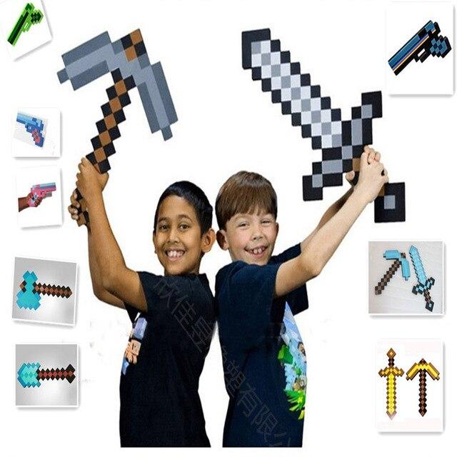 Minecraft Minecraft קצף יהלומי חרב מכוש חפירה גרזן אקדח EVA דגם צעצועי מתנת צעצועים לילדים יום הולדת חג המולד מתנות
