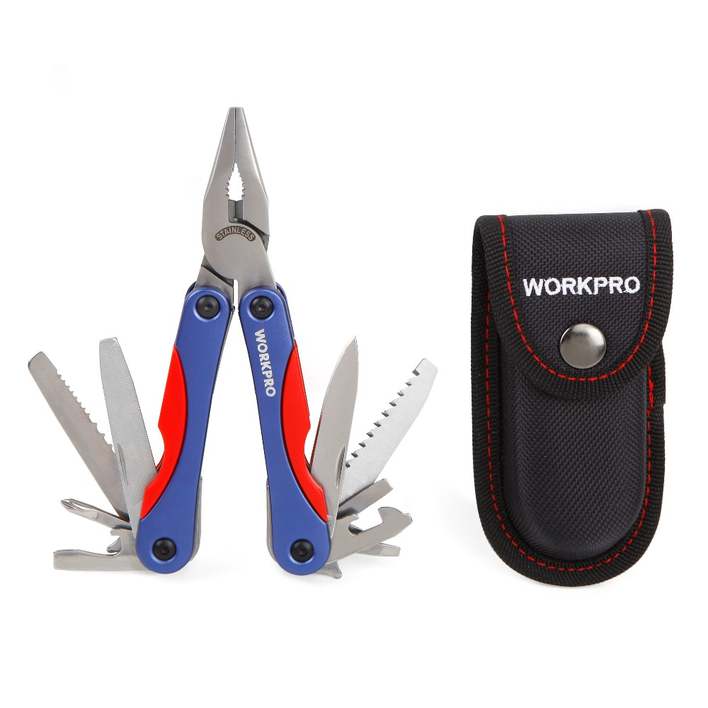 WORKPRO 15 en 1 Multi herramientas al aire libre Camping herramientas Multi de los alicates cuchillo Survival Gear