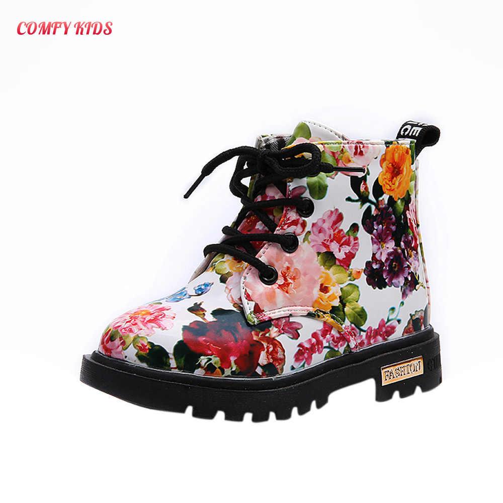 หญิงฤดูหนาวรองเท้าแฟชั่นดอกไม้พิมพ์รองเท้าเด็กทารก elegant Martin Boots ฤดูหนาว warm Soft Anti-ลื่นเด็กรองเท้า