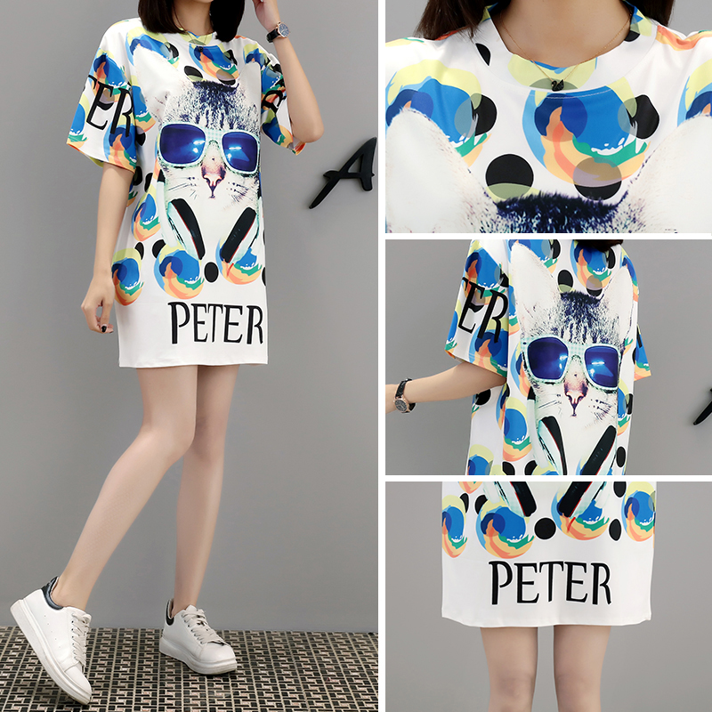 M personality fashion summer new loose large size cartoon print female long section tide brand dress