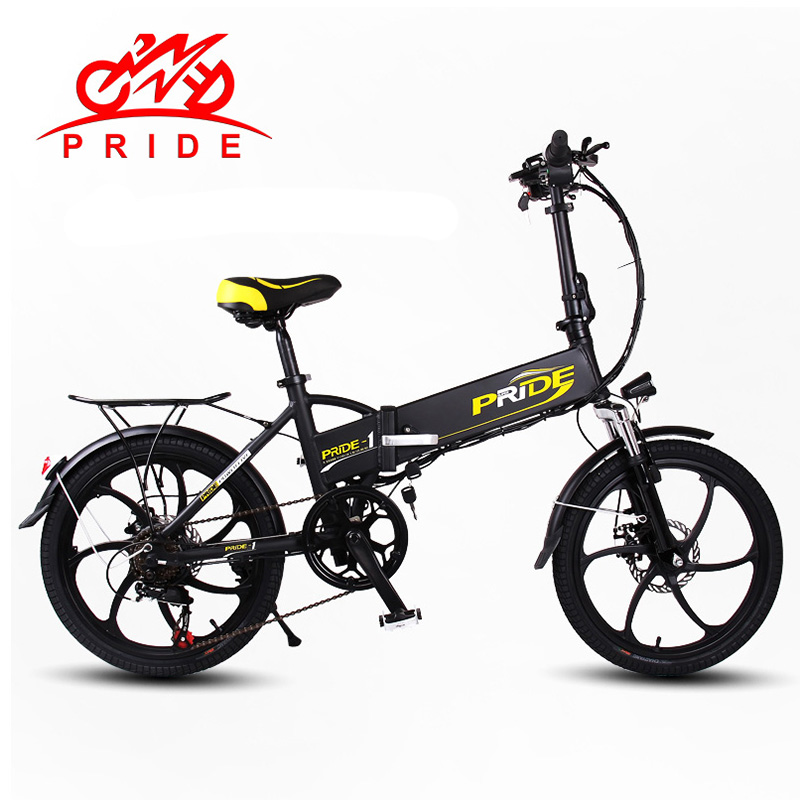 PRIDE Electric bike 48V 10ALithium Battery Aluminum Alloy Folding electric Bicycle 250W 20 inch 6Speed gear Electric Snow bike