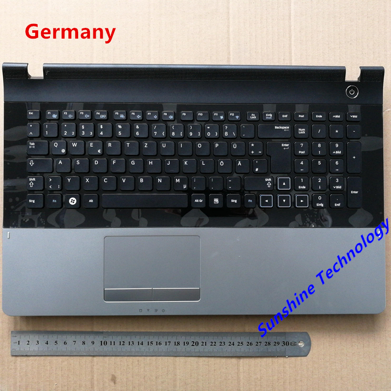 Germany layout new laptop keyboard with touchpad palmrest for samsung NP305E7A 300E7A 300E7 GR BA75-03352C цена