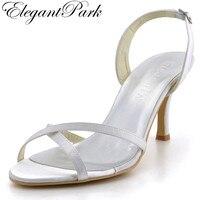 Vrouw Zomer Sandalen EP2105 Open Teen Wit Hoge hakken slingback pumps Satijn Trouwschoenen bridal sandalen