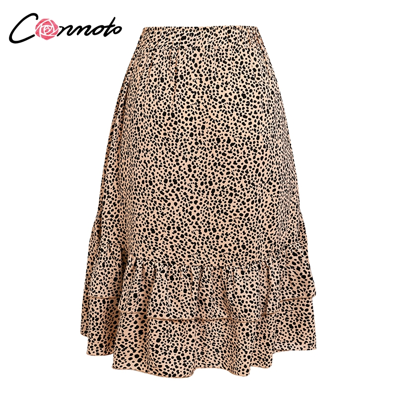 Conmoto 19 High Waist Flounce Beach Women Skirts Polka Dot Feminino Summer Skirts Ruffles Asymmetrical Elegant Midi Skirt 15