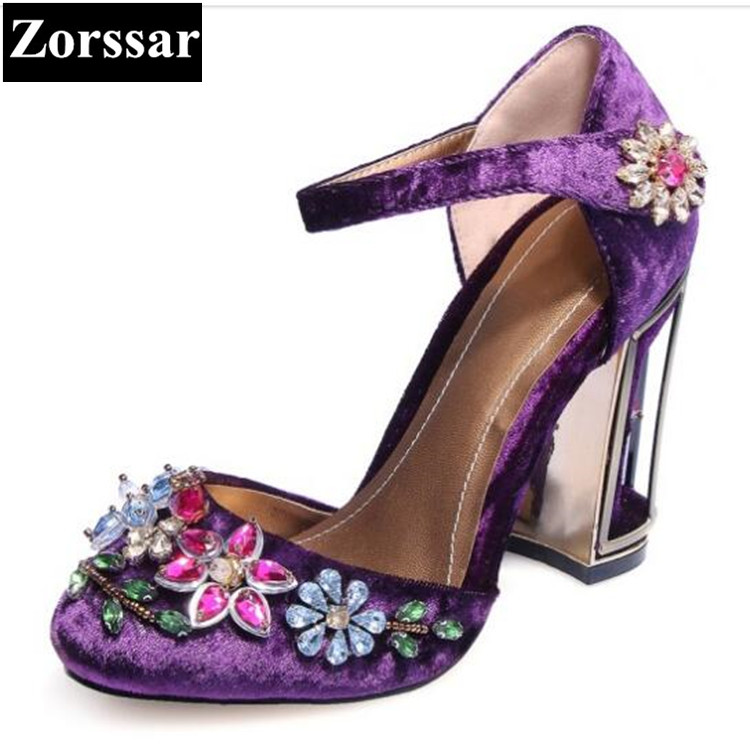 woman pumps round toe ankle strap high heels sandals plus size 2017 lady shallow velvet thick heels rhinestone wedding shoes