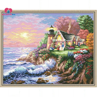 45*35cm Accurate printed Full beadwork Sea beach landscape kits for embroidery cross stitch home decoration crafts new year