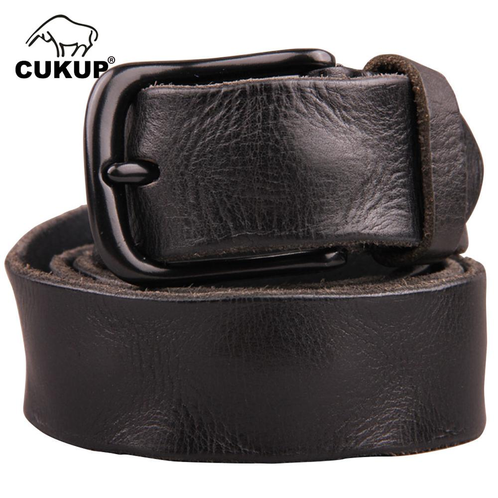 CUKUP Top Quality Wrinkle Pattern Cow Skin Leather Belts Black Alloy Clasp Buckle Metal Belt For Men Jeans Accessories NCK096