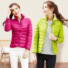 women ultra light down jacket winter duck down jackets women slim thin long sleeve parka zipper 14 color coats pockets solid