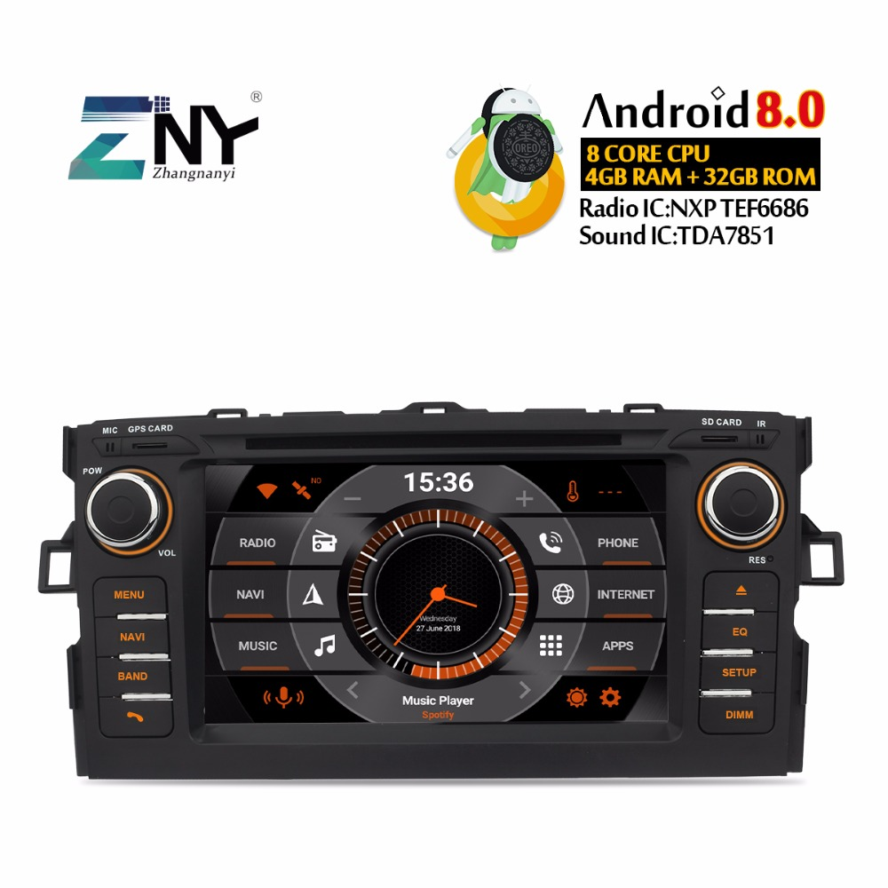"7"" IPS In Dash 2 Din Android 9.0 Car DVD For Toyota Auris Auto Radio FM RDS GPS Navigation WiFi Audio Video Free Rear Camera"