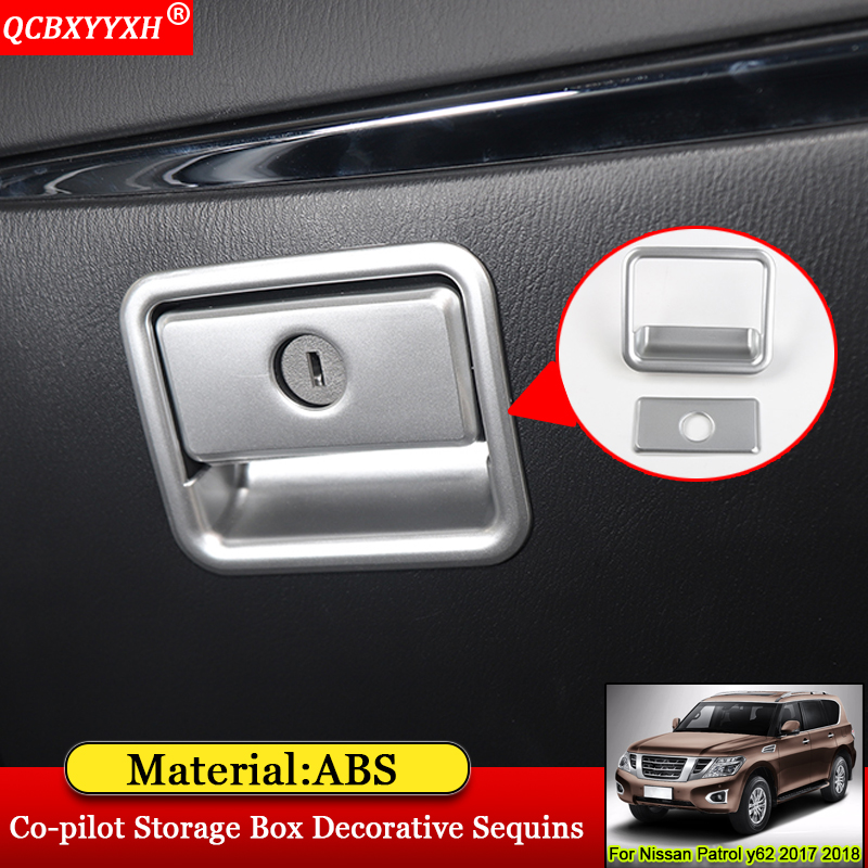 QCBXYYXH Car Styling Stainless Steel Interior Co-pilot Storage Box Decorative Sequin Accessories For Nissan Patrol y62 2017 2018