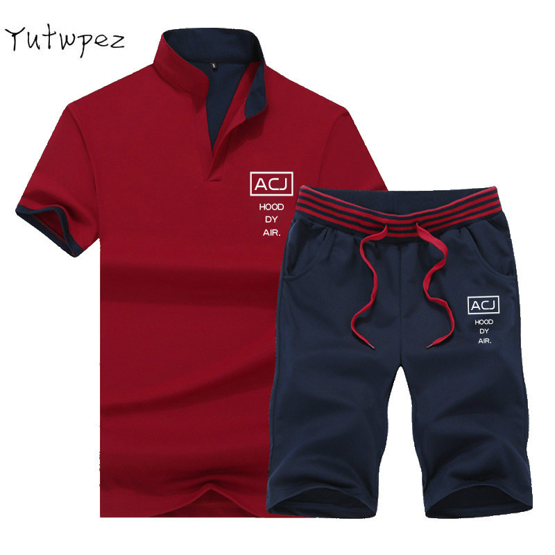 Tracksuit Man Sets Pants Summer New Men's Cropped T Shirt Shorts Casual Suits Sportswear Mens Clothing Male Sweatshirt 2019