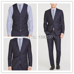 Hand-Stitching Men Suit Top-Quality 100%Wool Two-Buttons Double-Vent-3pieces Lapel Notch