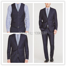 Top Quality 100% wool dark navy notch lapel with hand stitching two buttons double vent 3 pieces men suit