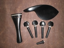 1 Set Ebony Violin fitting 4/4 Including chin rest & tail piece & pegs end pin