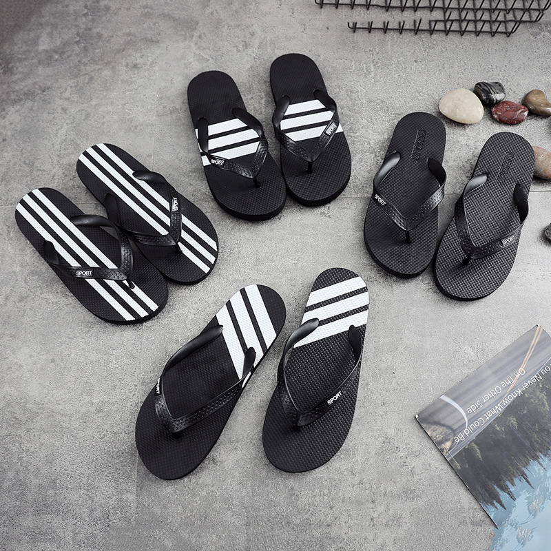Couple Flip-flops Men's Summer Beach Shoes Anti-skid Sandals Students'pure-color Leisure Korean Style Personality Slippers Men