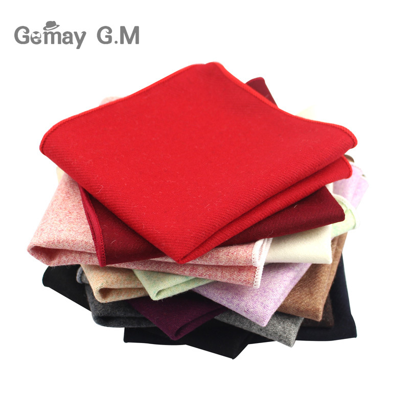 High Quality Hankerchief For Men Solid Wool Hankies Classic Mens Pocket Square Handkerchiefs Striped Scarves For Suits 23*23cm