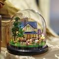 B014 новый DIY Миниатюрные Фермы кукольный миниатюрный стеклянный шар diy миниатюры деревянный кукольный дом голос светодиодные фонари