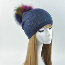Женские натуральной меховой помпон hat женский плотная теплая Трикотажная Шапочка натуральный мех енота Pom Hat зимние шапочки с меховым помпоном