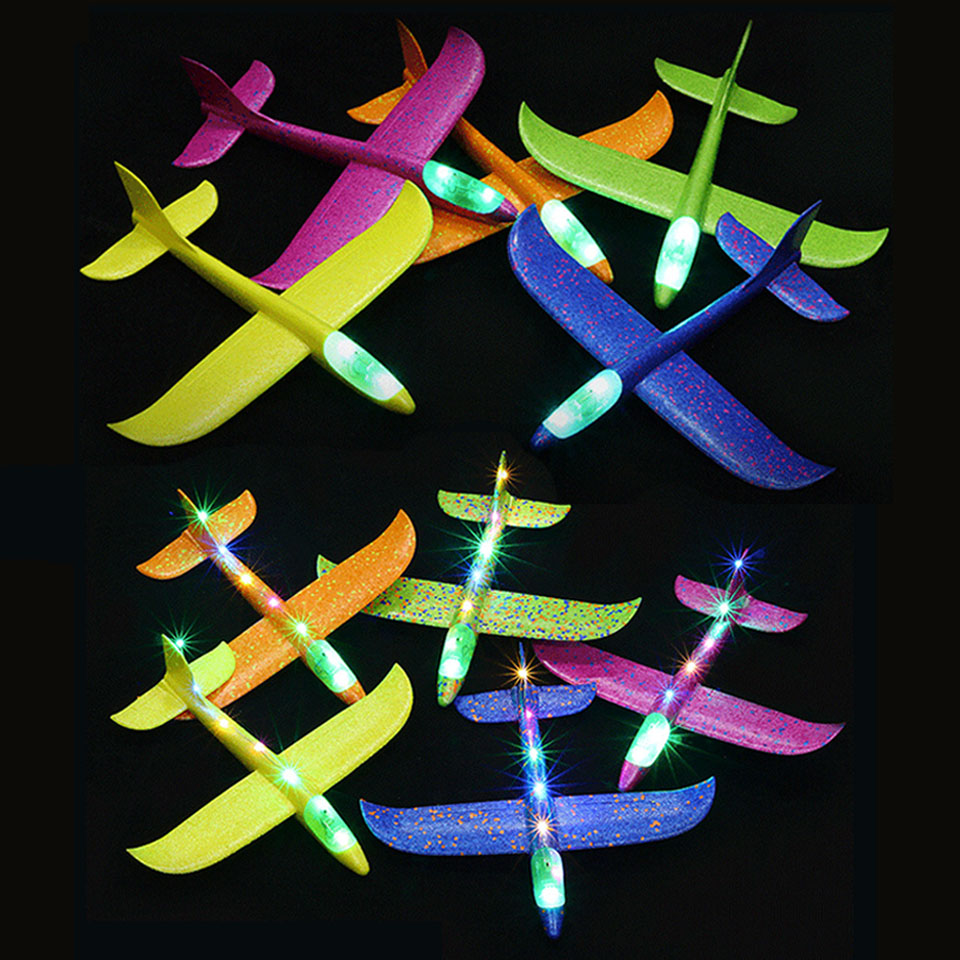 35-48CM Hand Throw Lighting Up Flying Glider Plane Glow In The Dark Toys Foam Airplane Model LED Flash Games Toys For Children