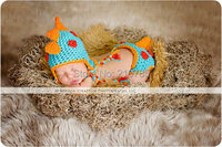 Free shipping blue and orange dinosaur modelling handmade crochet Hat with Diaper Cover Newborn Photography Prop 2pcs Set NB-6M