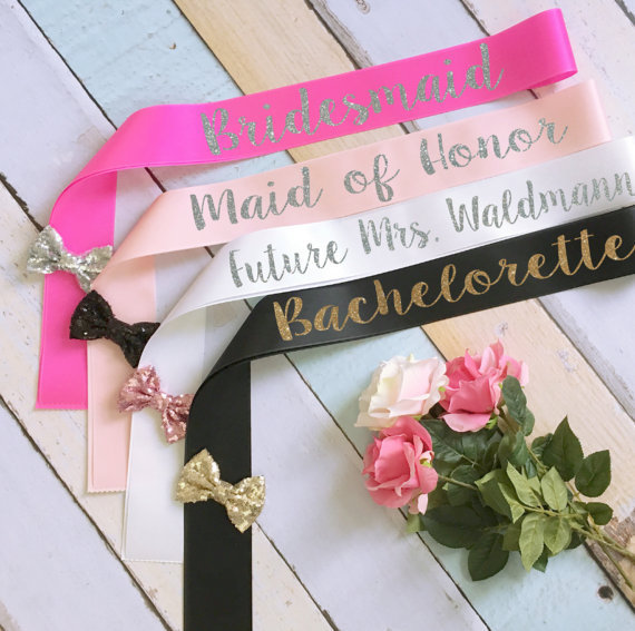 personalize glitter bow bride bridesmaid bachelorette wedding sashes birthday bridal shower sash party favors decorations