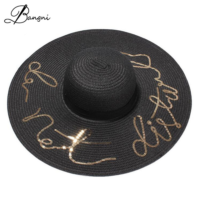 6ac9d243ba6 Wide Brim Sun Hat For Women Sequins Letter Embroidery Panama Summer Straw  Hats Folded Floppy Beach Ladies Caps Chapeu Feminino