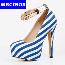 2017 Women Shoes Ankle Strap Pumps PU leather platform pointed toe High heels Lady fashion Stripe Sexy Thin Heels High heels