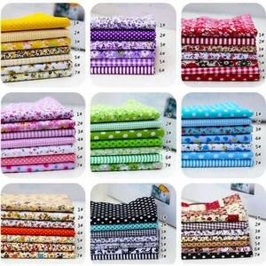 7Pcs 100% Cotton Fabric Assorted Pre-Cut Bundle DIY Decor 25*25cm