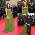 Angelina Jolie en Vestidos de Maternidad con Cuello En V Acanalada Gasa Longitud Del Piso Una línea de Vestidos vestido de fiesta de Celebridades en La Alfombra