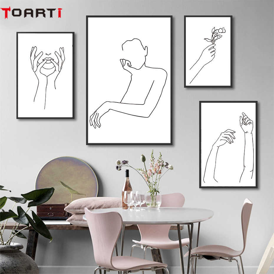 Abstract Canvas Painting Women Body Line Drawing Poster And Prints Modular Wall Picture Home Decor Minimalist Wall Art Murals