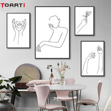 Abstract Canvas Painting Women Body Line Drawing Poster And Prints Modular Wall Picture Home Decor Minimalist Wall Art Murals(China)