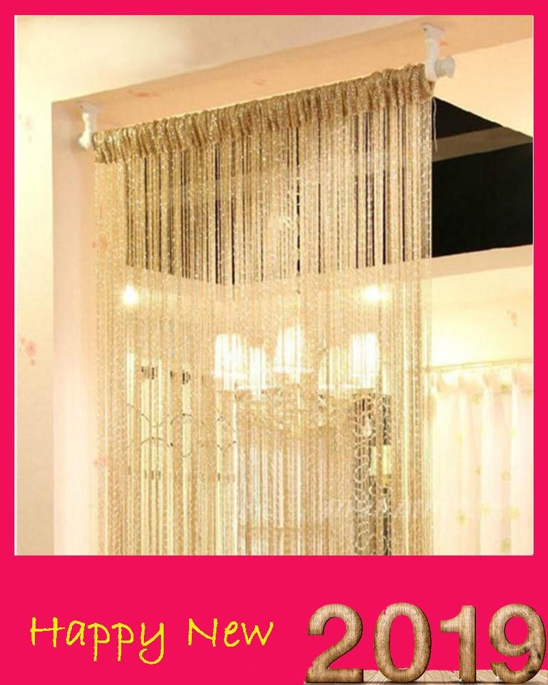 13 Colors Vogue Curtain Silver Silk Tassel String 200cm x 100cm Door Window Living Room Divider Curtain Valance Hot window valance
