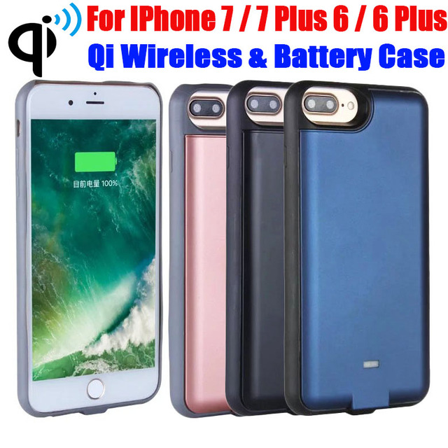 10X 3000mAh 5000mAh Qi Wireless Transmitter Power Bank Charger External Backup Battery Case For iPhone 7 Plus 6 Plus IP725