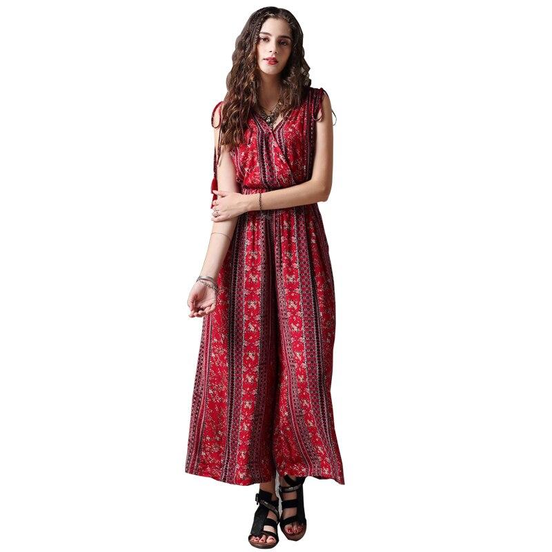 américain Bohème Droit De Plage D'été Salopette Filles Femmes Chic Pour Imprimer Et Rouge Avec Pantalon Fleur Combinaisons Euro Innasofan Wxzn6w8B
