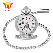 Ouyawei Sun Moon Phase Necklace Antique Silver Pocket Watch Mechanical Classic Roman Pendant Stainless Steel Mens Fob Watches цена