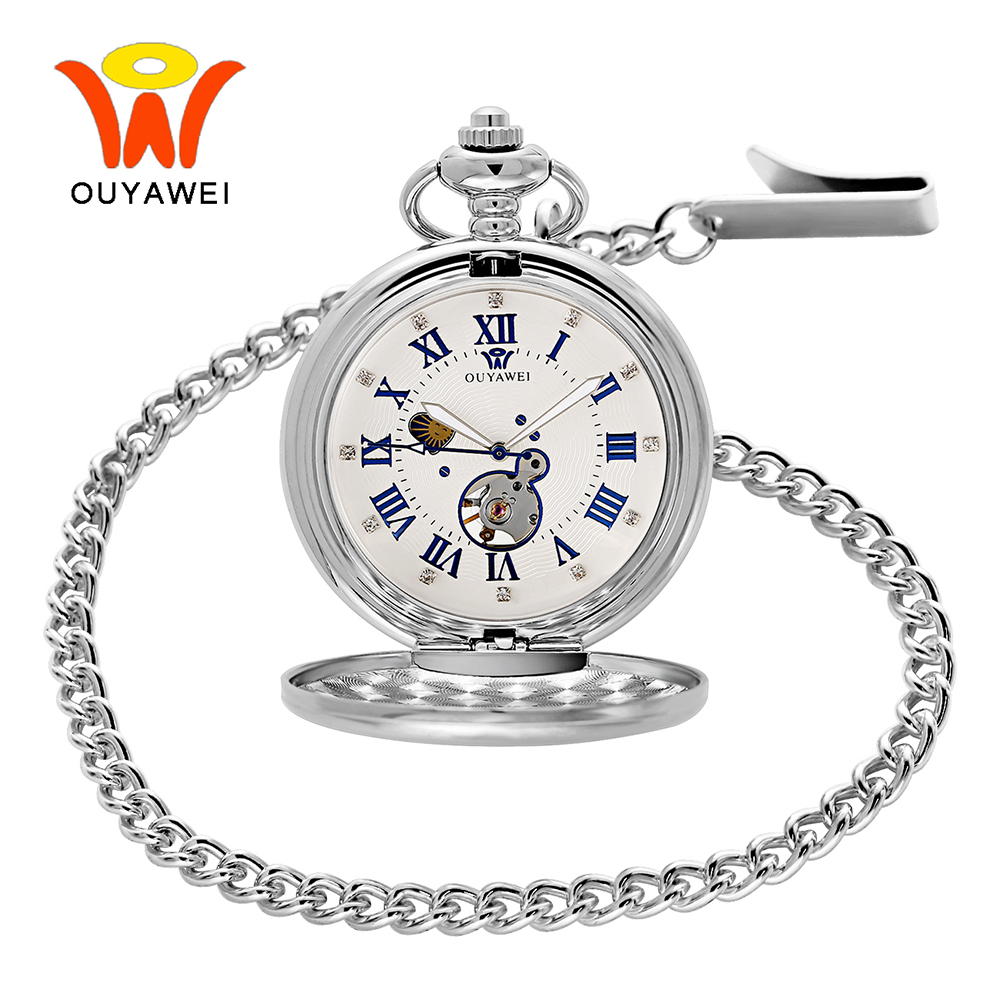 Ouyawei Sun Moon Phase Necklace Pocket Watch Mechanical Roman Number Love Pendant Mens Fob Watches Chain cep saati Relogio