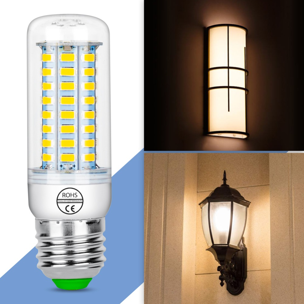 Купить с кэшбэком E27 Led Lamp 5730 SMD Led Bulb 220V E14 Corn Light GU10 Lampada Led 230V Home Kitchen Chandelier Lighting 24 36 48 56 69 72leds