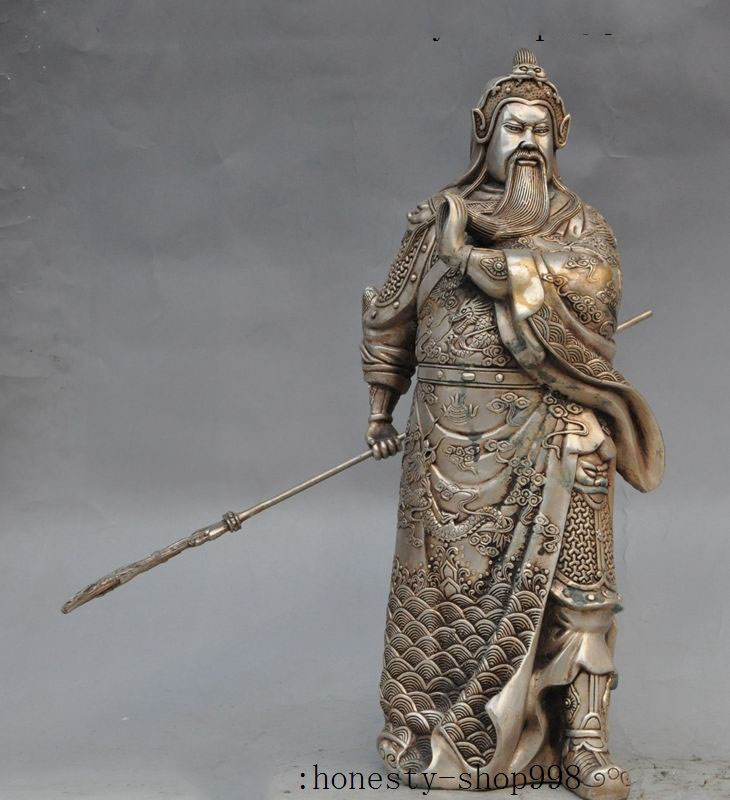 Old Chinese Copper-nickel alloy Protect Dragon Guan Gong Guan Yu Warrior God sculpture