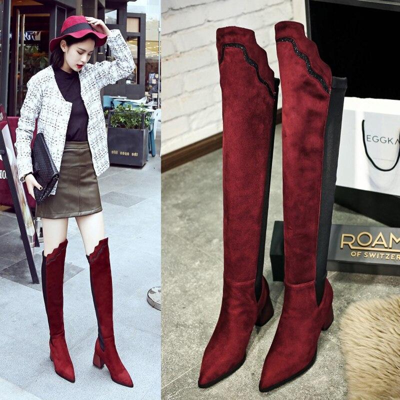 Haute Grande 43 Genou D'hiver 42 Noir Neige Botas Sur Size40 Moto Femelle Longues De Stretch Bottes Tuyau Chaussures Chaussons Mince rouge Poêle Jambes Femmes sQCdrxth