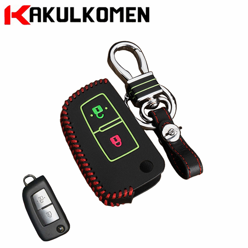 Car key 2key buttons Folding Luminous leather car key case cover shell fob for Nissan Qashqai X-trail Murano Maxima Altima Juke