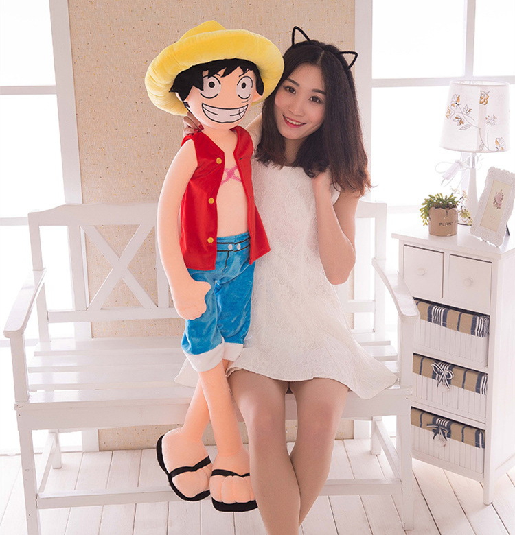 [Temil] Large size 120cm ONE PIECE Luffy Plush Suffed Toy Doll Child's friend soft cotton Luffy model Hold pillow kids/baby gift