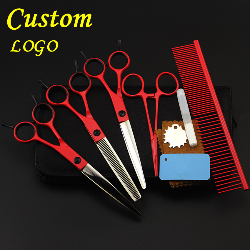 Custom professional 5 kit japan 440c pet 7 inch shears dog grooming hair scissors cutting thinning barber hairdressing scissors 4 kit professional 8 inch pink pet grooming shears cutting hair scissors case dog grooming thinning barber hairdressing scissors