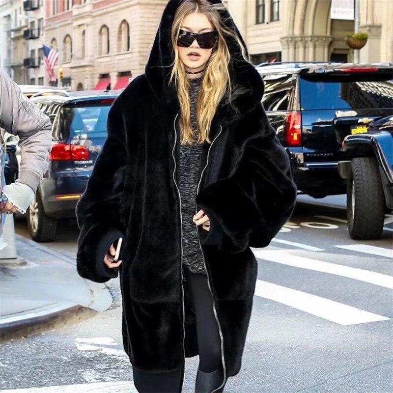 Essayer Tout Plus La Taille Fausse Fourrure Manteau Femme Avec Capuche Noir Long En Fausse Fourrure Veste Femmes Manteau D'hiver Surdimensionné À Capuche zipper 2018