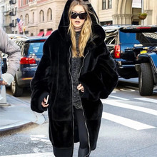 Try Everything Plus Size Faux Fur Coat Woman With Hood Black Long Faux Fur Jacket Women Winter Coat Oversized Hoodie Zipper 2019