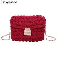 Croyance Handmade Bags for Women Beach Bag Personality Crossbody Lock Handbag Lady Vintage Knit Fashion Shoulder Bag